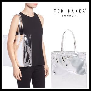 TED BAKER SILVER PLATINUM SHOULDER TOTE BAG A2C